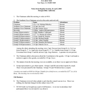 Minutes of CWCAC Meeting - 26 Apr 2003