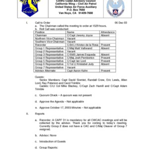 Minutes of CWCAC Meeting - 3 Dec 2003