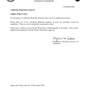 Policy Letter 01